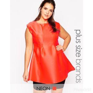 AX Paris peplum sleeveless top in coral BN…